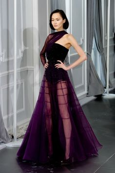 Dior haute couture purple evening gown.