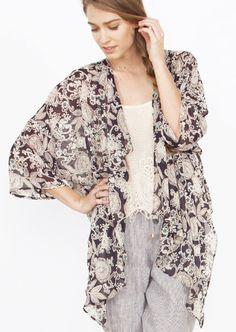Willows kimono. Abstract printed sheer kimono with loose draped collar. #fashion #kimono #style