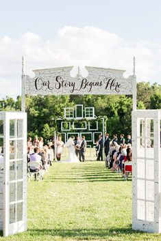 old door wedding decoration ideas white doors with an inscription at the wedding ceremony katelyn james photography