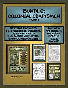 This BUNDLED product includes the following Colonial Craftsmen: Gunsmith, Wigmaker, Printer, Apothecary, Tailor, and Tanner.  This BUNDLED product is perfect for SUBSTITUTE TEACHERS, enrichment learning, homeschool or co-ops!  Includes reading passages, comprehension questions, and activities. Grades 5-8
