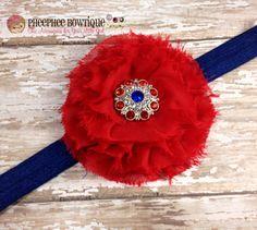 Red Flower Headband 4th of July Baby Headband by PheePheeBowtique