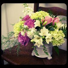 Hydrangea, white freesia, lavender roses, stock...  Roberts Flowers of Hanover, Hanover, NH