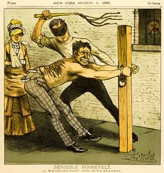 In one of New York's Daily Readers in 1883, a warning to wife beaters. Created by artist, Thomas Worth.