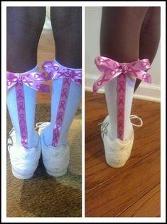 Breast Cancer Awareness Cheer Socks #breastcancerawarenessideas Breast Cancer Crafts, Breast Cancer Shirts, Breast Cancer Walk, Breast Cancer Support, Breast Cancer Awareness, Youth Cheer, Cheer Camp, Cheer Coaches, Football Cheer