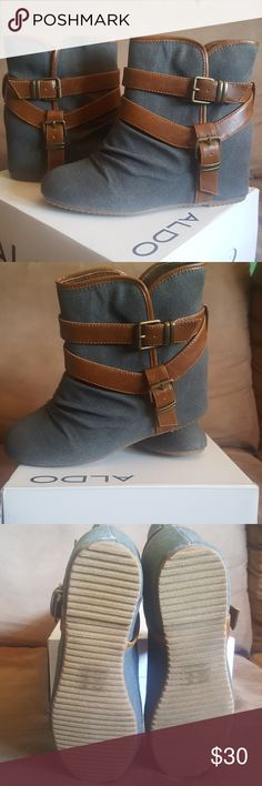 NEW-Aldo Wedge Boot Gray/Brown Aldo Wedge Boot. Never worn. Aldo Shoes Ankle Boots & Booties