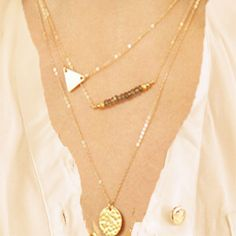 Trendy Gold Triangle Beaded Bar Three Layers Necklace Body Jewelry