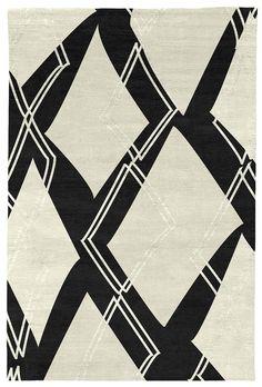 Judy Ross Hand-Knotted Custom Wool Argyle Rug black/cream/cream silk