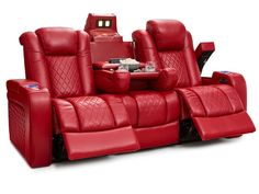 Seatcraft Anthem Home Theater Seating Leather Multimedia Power Recline Sofa with Drop-Down Table, Powered Headrests, Storage, and Cupholders (Red) For Sale Home Theater Room Design, Home Cinema Room, Home Theater Furniture, Home Theater Rooms, Home Theater Seating, Fine Furniture, Drop Down Table, Fold Down Table, Power Recliners