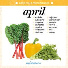 Groenten en fruitkalender - april Fruits And Vegetables, Veggies, Hot Sauce Recipes, Healthy Recepies, Good Food, Yummy Food, Happy Foods, Fruit In Season, Seasonal Food