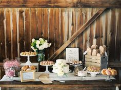 Rustic barn wedding dessert table | Alexandra Elise Photography