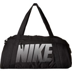 Nike Gym Club Bag (Black/Black/White) Bags (115 PEN) ❤ liked on Polyvore featuring bags, zip handle bags, zip bag, white and black bag, padded bag and water resistant bag