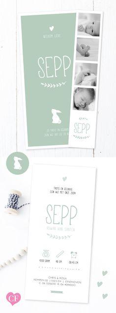 Geboortekaartje jongen met fotostrip | Groen | mint | blauw | Een lief origineel geboortekaartje met konijntje | egeltje, uiltje of vogeltje.