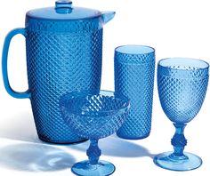 #Jarra, #Vaso y #Copa en color azul