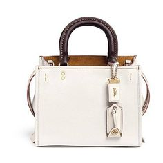 Coach 1941 'Rogue 25' glovetanned leather satchel ($922) ❤ liked on Polyvore featuring bags, handbags, leather satchel, white satchel handbags, white leather handbags, pocket purse and handbag satchel