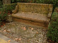 Brick bench on the a