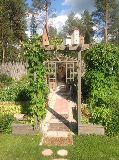 Greenhouse, birdhouse, arbor and kitchen garden. Linnunpönttö, hyötypuutarhan koristus, taustalla häämöttää kasvihuone.