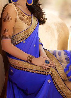 Blue and gold saree or sari and blouse design Netted Blouse Designs, Blouse Neck Designs, Indian Blouse, Indian Sarees, Saris, Indian Dresses, Indian Outfits, Indian Clothes, Pakistani Dresses