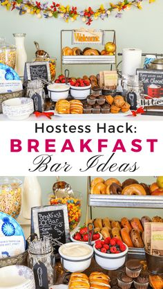 Remove the Hostess Stress of meals! Create this unbelievably easy Breakfast Bar/Buffet Hack! Make morning simple with fun decor, food ideas to please hungry families & friends. Including paleo, bright line and gluten-free food alternatives! Perfect for sleepover parties, brunch, and holiday crowds. Diy Breakfast Bar, Birthday Breakfast, Birthday Brunch, Birthday Bar, Wedding Breakfast, Easter Brunch, Breakfast Fruit, Brunch Wedding, Morning Breakfast