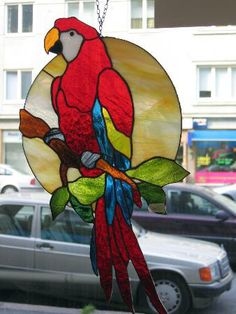 parrot red macaw stained glass