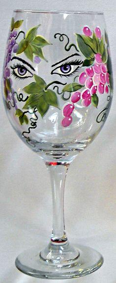 Grape Eyes Wine Painted Glass Pattern Packet by Jillybean Fitzhenry - Jillybean.net