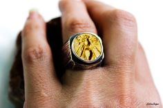 Ancient Coin Ring Bee Coin Sterling Silver by womenandmenjewelry