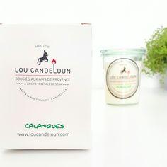 Bougie Made In France à la cire de soja Bio. Senteur naturelle, parfum Calanques. Marque Lou Candelou, vendue sur le site Helo. Pot en verre.