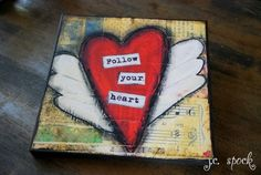 12x12 mounted print Follow your Heart mounted wood by JCSpock, $50.00