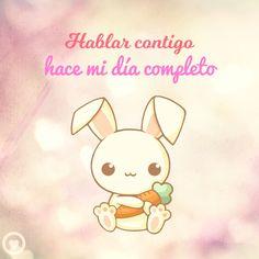 conejo kawaii con frase corta de amor