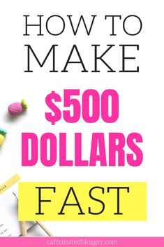 Start make money online today! Here are the top five websites that will show you how to make 500 dollars fast, working from home.