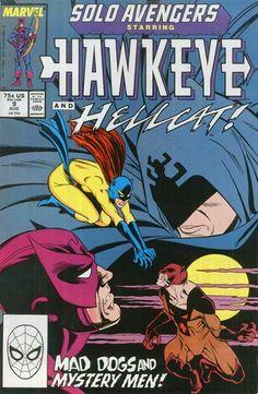Solo Avengers Aug 1988 Marvel Comic Book Hawkeye And Hellcat Mad Dogs Marvel Heroes, Marvel Avengers, Marvel Women, Hawkeye Comic, Marvel Comic Books, Comic Book Covers, Comic Art, Superhero, Comics