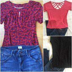 """3 Tops from Nordstrom. One shipping charge. 3 cute  tops from Nordstrom. ‼️Bundled with my Hudson Jeans and you get a special 20% discount‼️and all for one shipping charge.All tops sz M. (1)Halogen red and black top.So cute! 17"""" between under arms.(2)Piper Project hot pink top with beautiful criss cross fabric detail on back. 19""""between under arms. (3)Pleione black top  with colored beautiful specks and hood. Gorgeous! 19"""" between under arms. All 3 very pretty!Slip on with jeans and go. All…"""