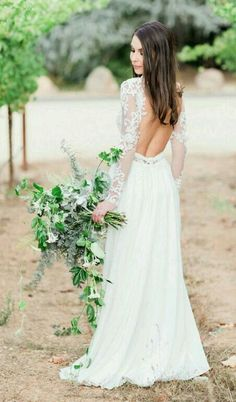 sexy backless wedding dresses with long sleeves