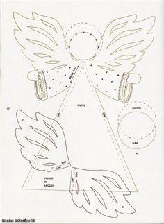 christmas craft ideas: paper angel tutorial - crafts ideas - crafts for kids Angel Crafts, Felt Crafts, Christmas Crafts, Christmas Decorations, Paper Crafts, Christmas Ornaments, 3d Paper, Christmas Templates, Christmas Printables