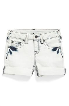 True Religion Brand Jeans 'Adurey' Roll Cuff Shorts (Toddler Girls & Little Girls) available at #Nordstrom