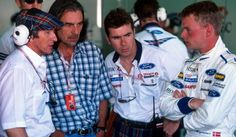 George Harrison visits the Stewart team: Jackie Stewart. Paul Stewart and Jan Magnussen at the Australian Grand Prix, Melbourne, Australia, March 9, 1997