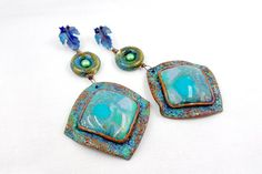 Amazing and Unique Polymer Clay Vintage  Earrings  by SweetyBijou