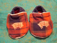 Red Plaid Foodie Booties Pig Butchering Chart Baby Booties 12 to 18 months Wide Foot Fit  Light Weight Fabric by BettieJune on Etsy