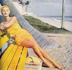 golden swimsuit, 1950s, vintage swimsuit