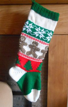 Christmas Stocking Knitted With Lining With by GrandmaJansCorner