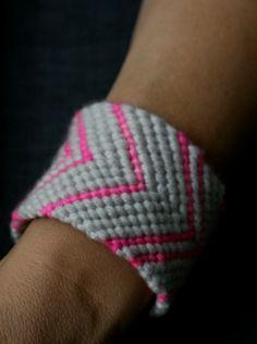 Chunky Yarn Friendship Bracelet Cuff from Purl Bee