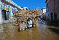 A man walks his donkey through the flooded streets of Beledweyne, Somalia