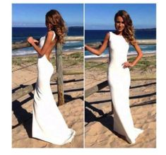 Long White Backless wedding dress with Short Train - Wedding Inspirations