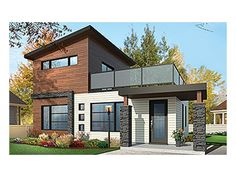 Home Plan HOMEPW77932 is a gorgeous 924 sq ft, 2 story, 2 bedroom, 2 bathroom plan influenced by Contemporary-Modern Homes style architecture.