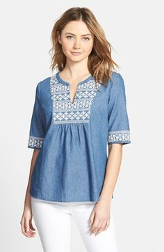 Vineyard Vines Embroidered Chambray Top