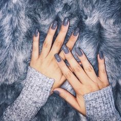 Image via We Heart It #false #furry #fuzzy #grey #hands #long #nails #sweater