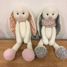 Crochet rabbits, ready for their new homes! #rabbit #crochettoy #plushie #amigurumi