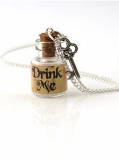 Handmade drink me necklace with a tiny glass bottle with a key on a 18 chain Bottle Jewelry, Bottle Necklace, Key Necklace, Bottle Charms, Mini Bottles, Glass Bottles, Perfume Bottles, All The Small Things, Drink Me