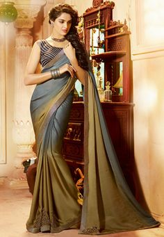 Grey and Olive Green Faux Crepe Saree with Blouse