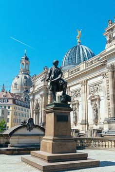 Statue of Gottfried Semper in Dresden Germany with the Frauenkirche in the background Visit Germany, Germany Travel, Stuff To Do, Things To Do, Indoor Places, Dresden Germany, Continents, Barcelona Cathedral, Travel Guide