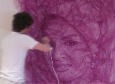 Portraits made by layering a single piece of tulle fabric. by Benjamin Shine